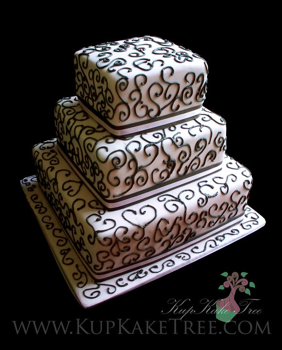 Cake Piping Design Patterns : square wedding cake with royal icing piped designs Flickr