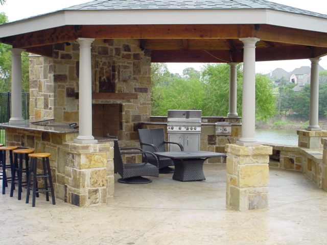 Outdoor living area flowermound texas this cabana in for How much does it cost to build an outdoor kitchen