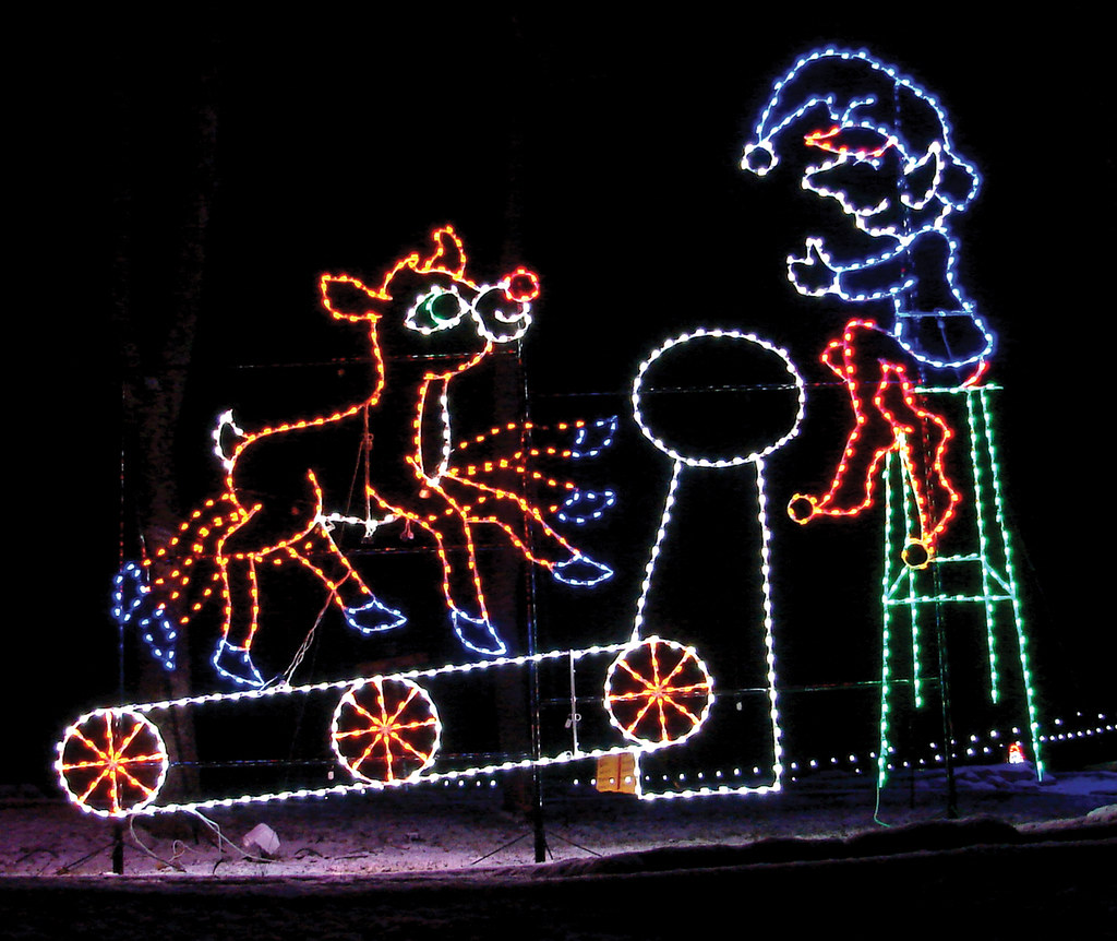 rudolph on the treadmill at at the santa claus land of lights at lake rudolph