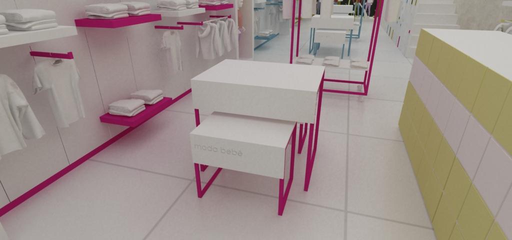 Dise o de mobiliario para tienda de ropa de bebe dise o for Mobiliario de diseno