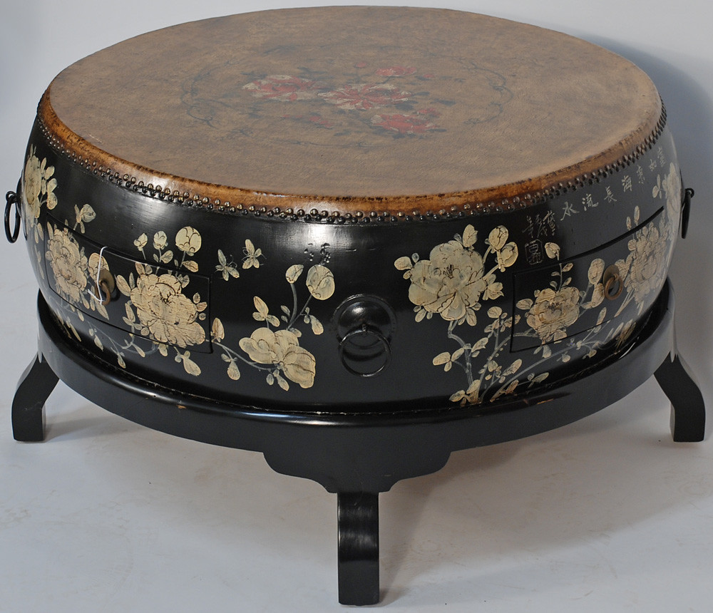 Bk0084y Asian Coffee Table Round Drum On Wooden Stand Gre Flickr