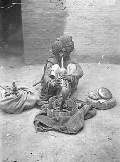 Snake charmer with cobra, India | by UW Digital Collections
