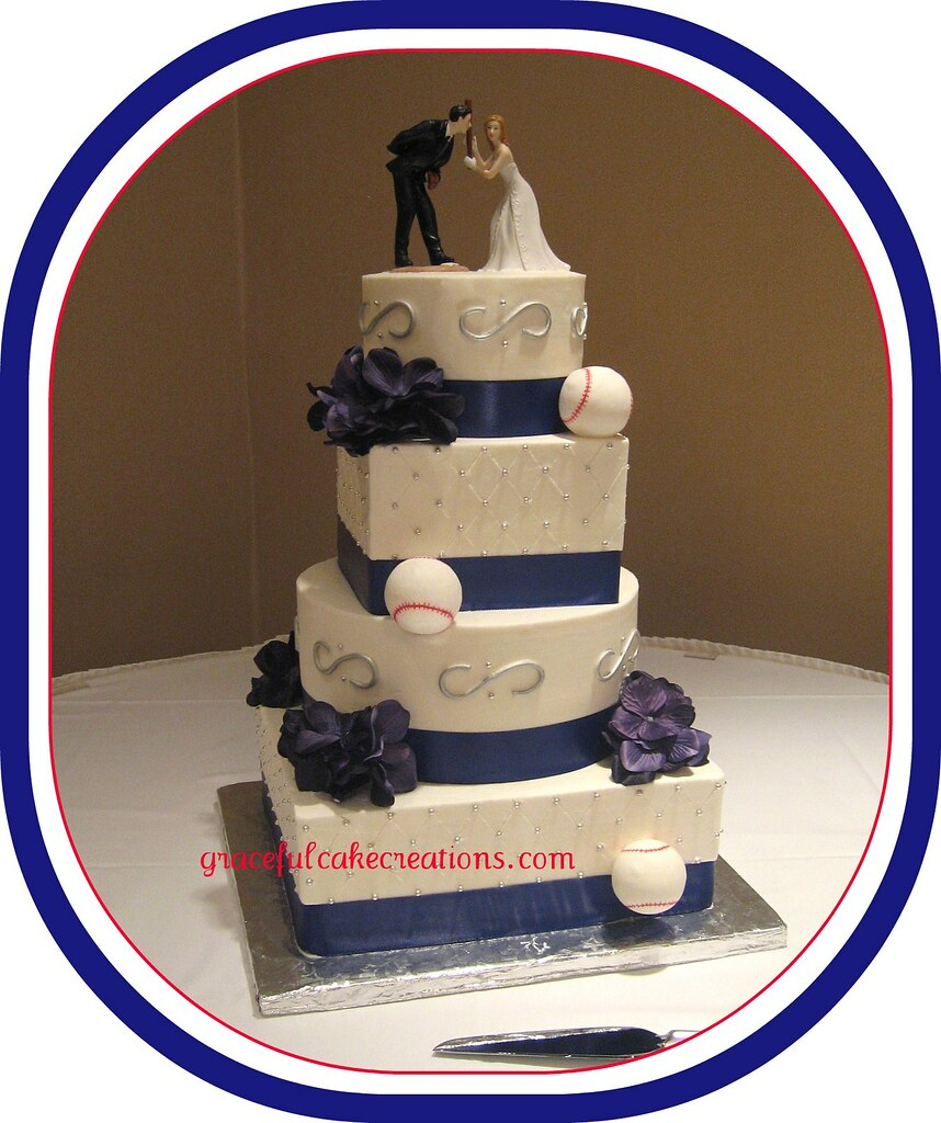 wedding cake toppers baseball theme baseball themed wedding cake grace tari flickr 26390