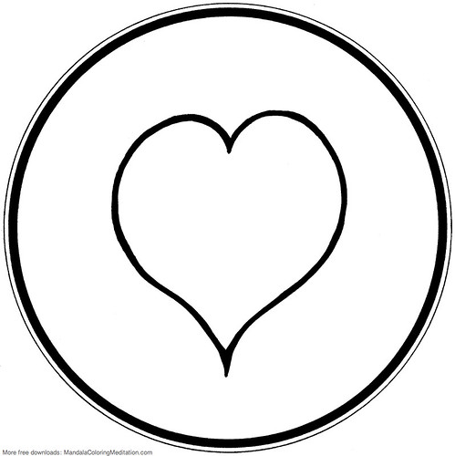printable children coloring page  heart mandala 1