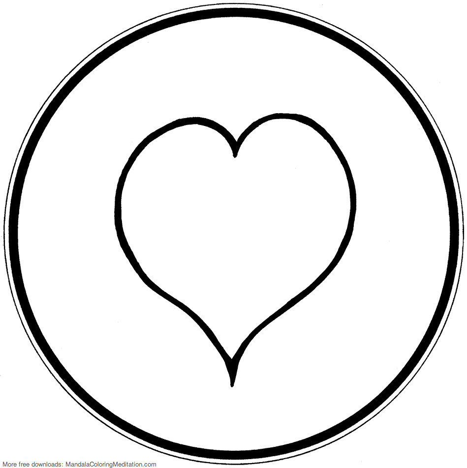 Printable Children Coloring Page Heart Mandala 1 A Simple Flickr