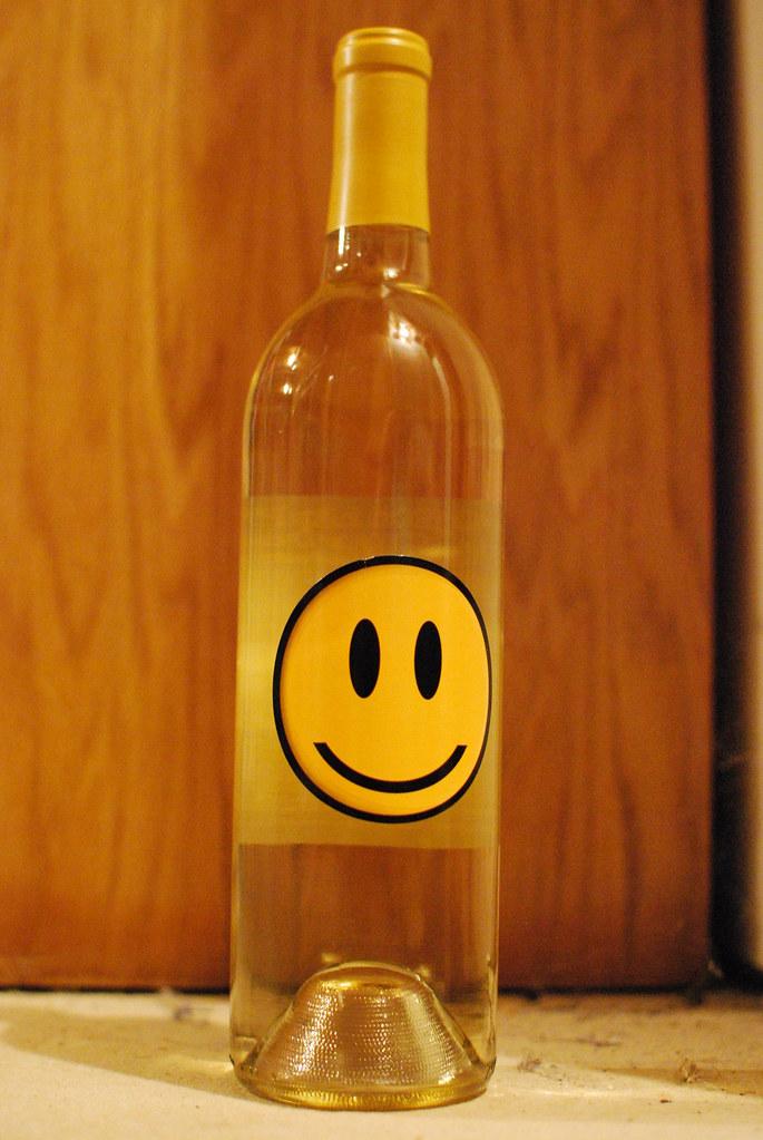 smiley face wine bottle