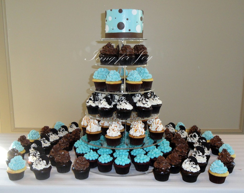 Tiffany Blue Wedding Cupcakes front view Irene