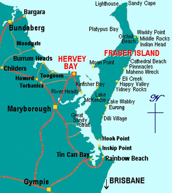 Map Of Hervey Bay And Fraser Island