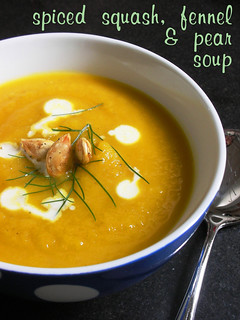 spiced squash, fennel & pear soup | by awhiskandaspoon