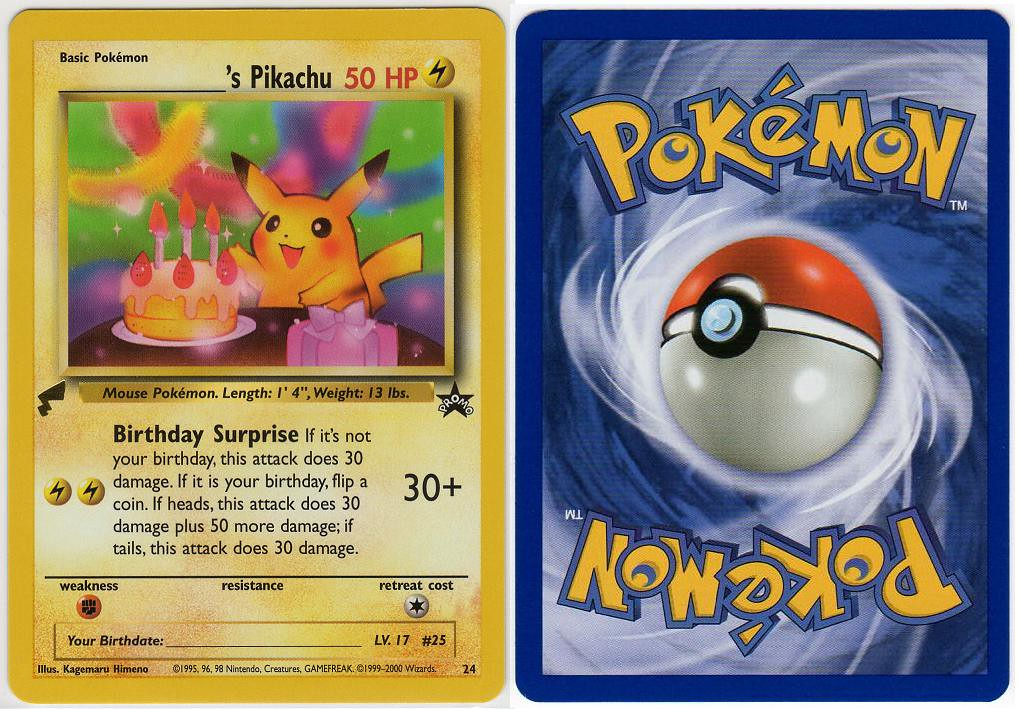 2000September13 Pikachu World Collection Name s – Birthday Pikachu Card
