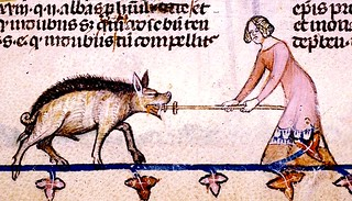 Woman repelling Boar. margin--bas-de-page. France 13-14th cent. Royal 10E BL | by tony harrison