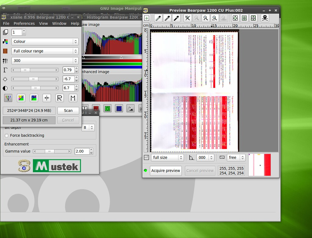 XSane scanning an image on Linux Mint | The interface is ugl