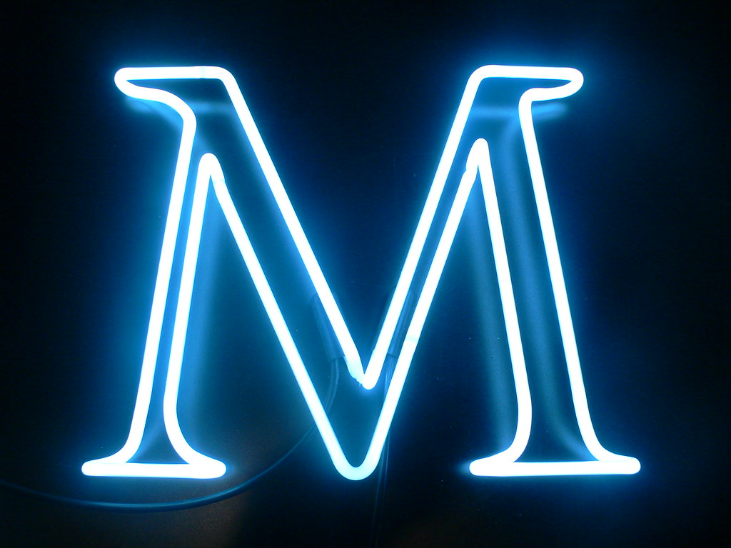 The letter m 14 x 17 white c8 lite brite neon studio for M wallpaper 3d