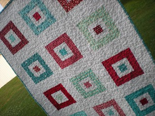Red and Aqua Square in a Square Quilt | by Erin @ Why Not Sew? Quilts