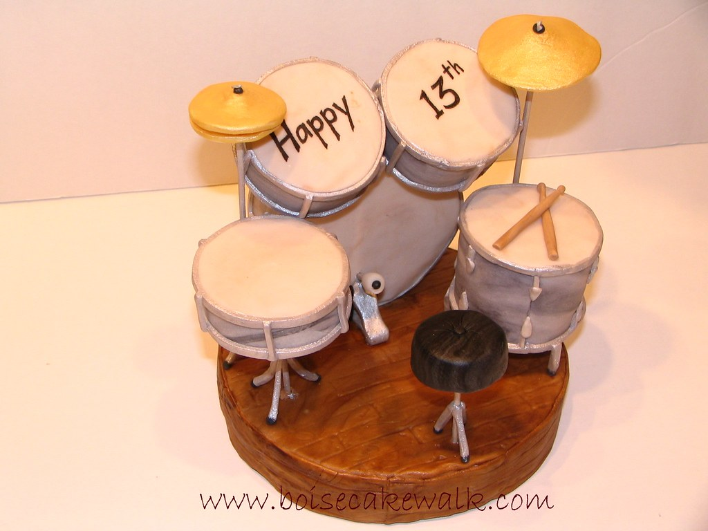 Drum Set | This is a cake topper for a boy turning 13  He's