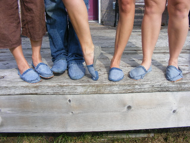 class diy footwear using recycled jeans donight flickr. Black Bedroom Furniture Sets. Home Design Ideas