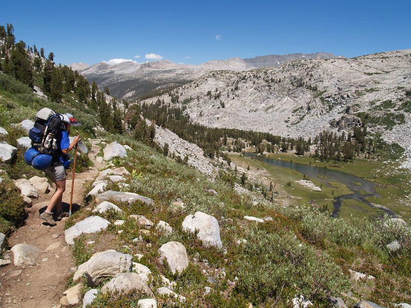 Downhill hiking on the Pacific Crest Trail along the Lyell Fork of the Tuolumne River
