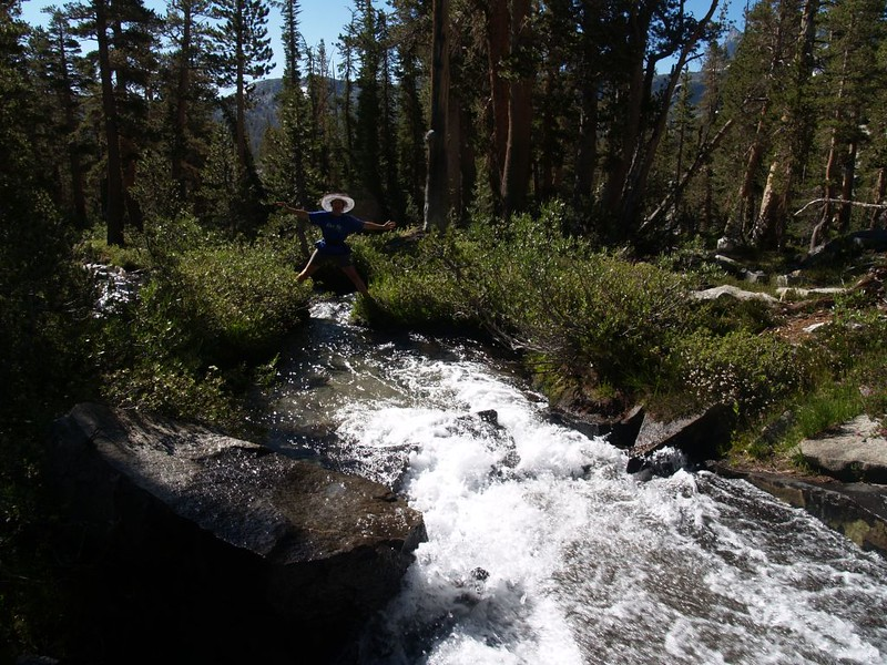 Vicki poses on her crazy route over the rushing water