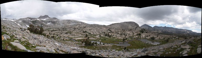 Panorama view north as we climb toward the Marie Lakes