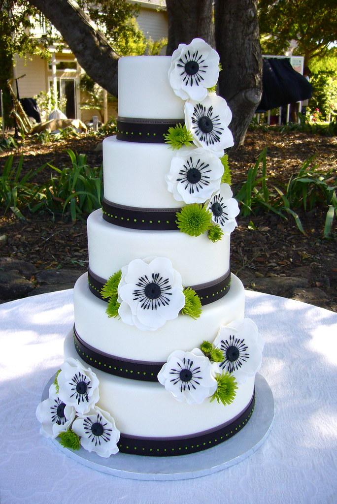 anemone wedding cake fondant edible bands handmade sugar flickr. Black Bedroom Furniture Sets. Home Design Ideas
