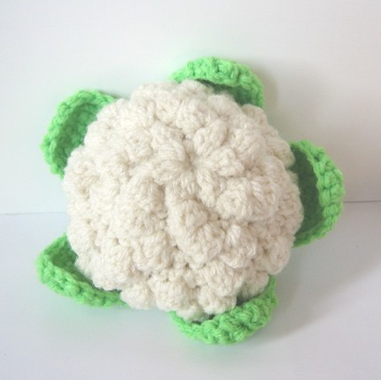 Crochet Patterns Vegetables Free : Cauliflower Crocheted cauliflower. Part of my vegetables c ...
