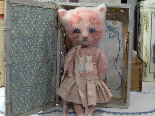 "Polka Dotty pink kitty cat art  8.5""doll*adopted* 