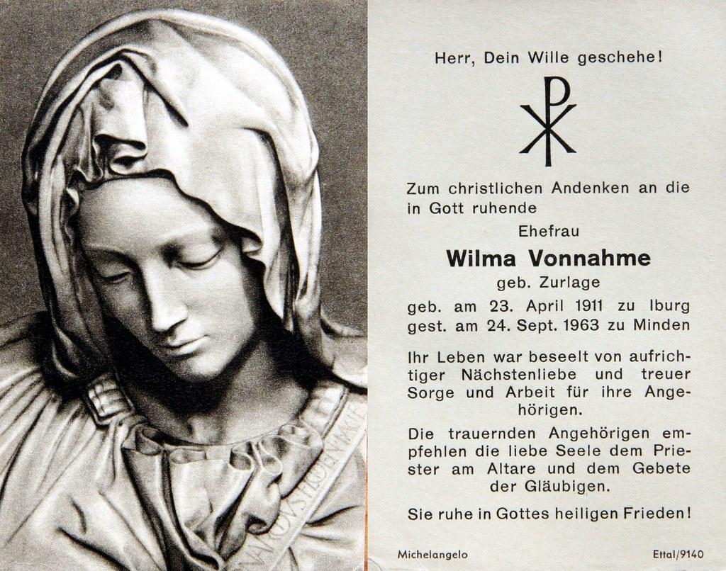 Totenzettel Zurlage, Wilma † 24.09.1963