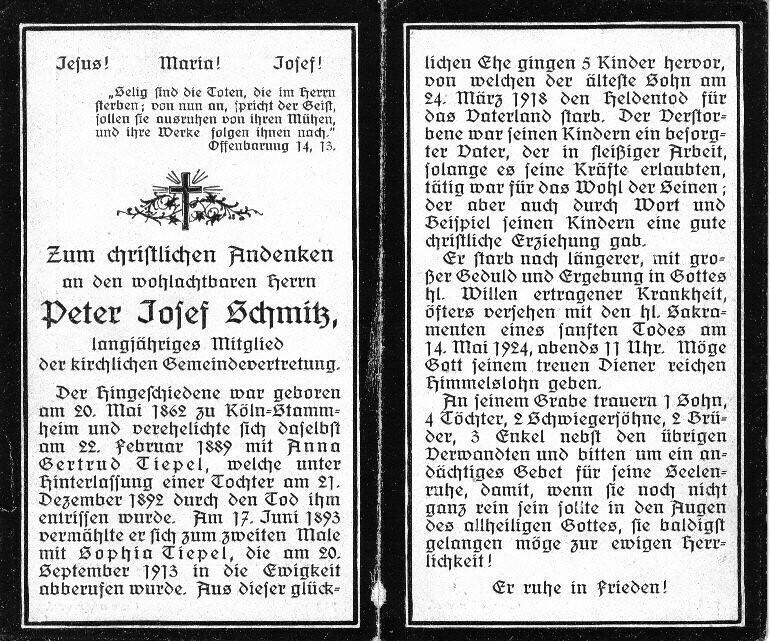 Totenzettel Schmitz, Peter Josef † 14.05.1924