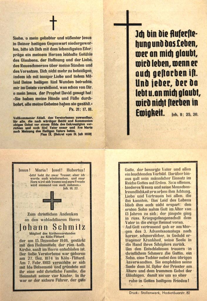 Totenzettel Schmitz, Johann Kirchenvorstandsmitglied † 15.12.1946
