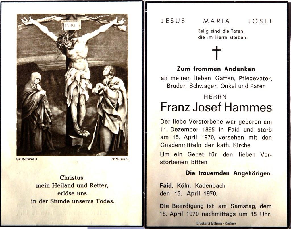 Totenzettel Hammes, Franz Josef † 15.04.1970