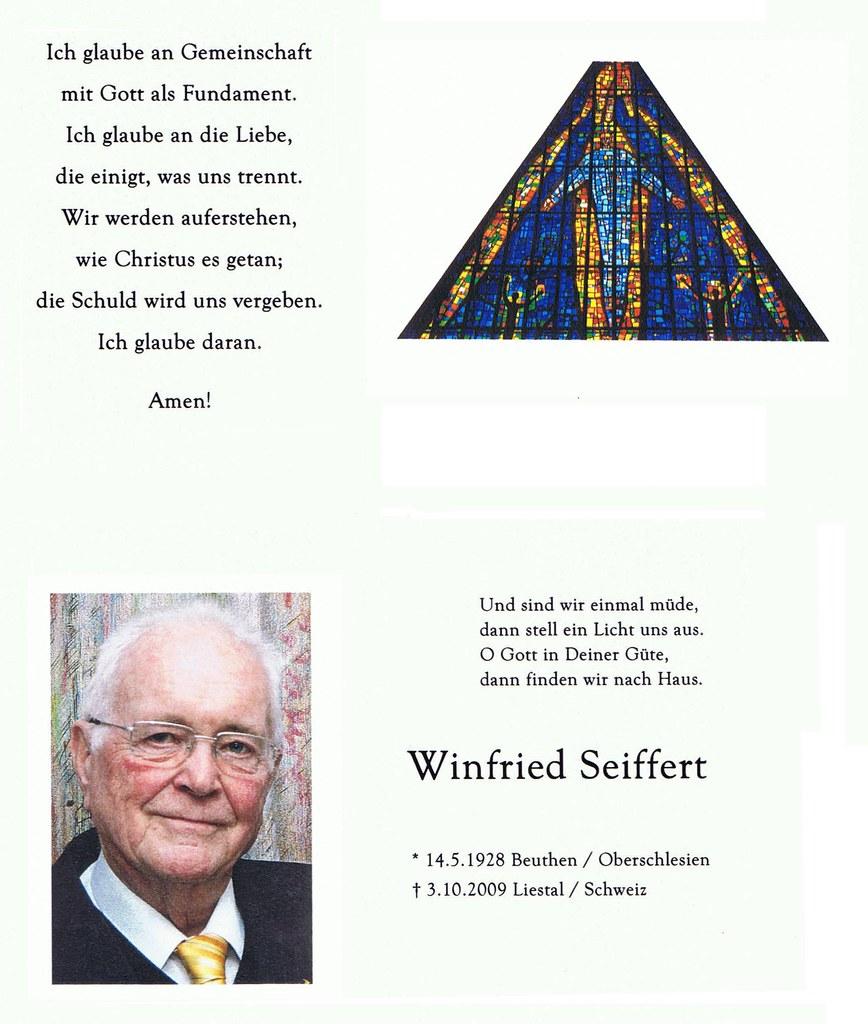 Totenzettel Seiffert, Winfried † 03.10.2009