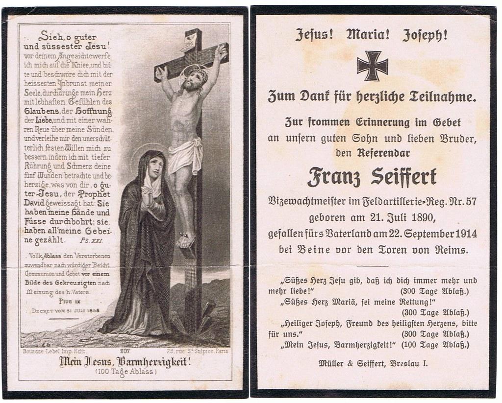 Totenzettel Seiffert, Franz † 22.09.1914