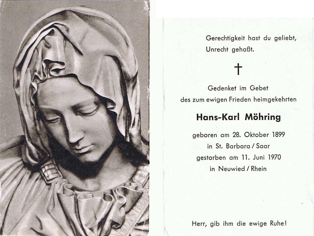 Totenzettel Möhring, Hans Karl † 11.06.1970