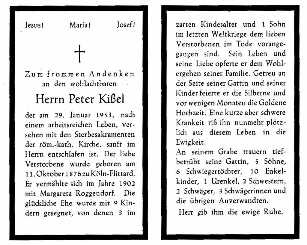 Totenzettel Kissel, Peter † 29.01.1953