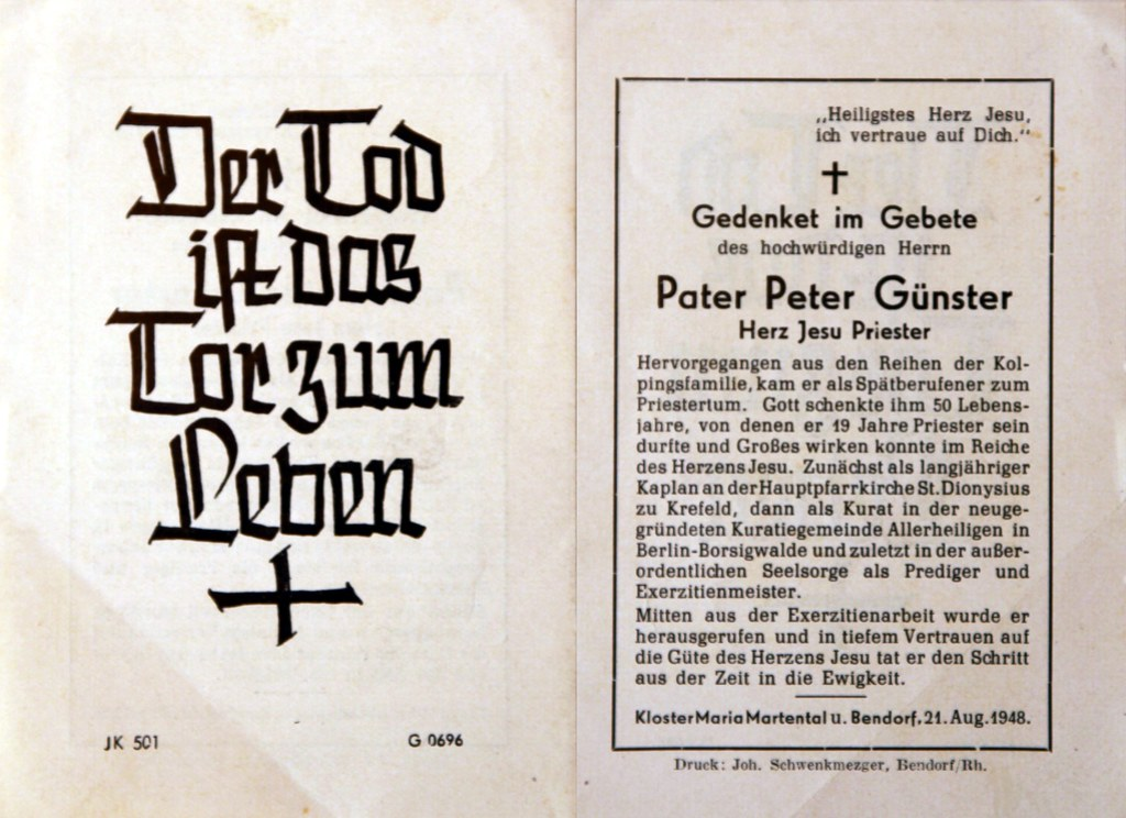 Totenzettel Günster, Peter Pater † 21.08.1948