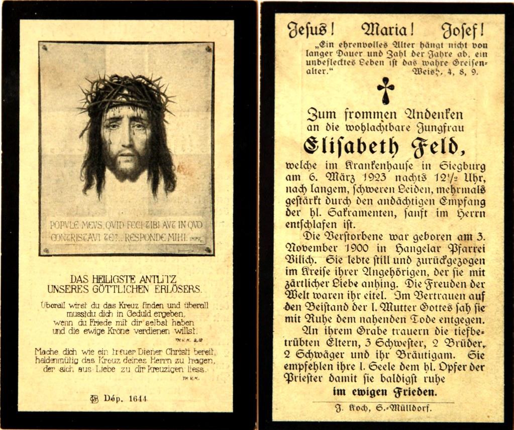 Totenzettel Feld, Elisabeth † 06.03.1923