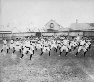 Wellington Physical Training School. Men doing stretches, 1898 | by National Library NZ on The Commons