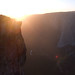 Person near Taft Point at sunset