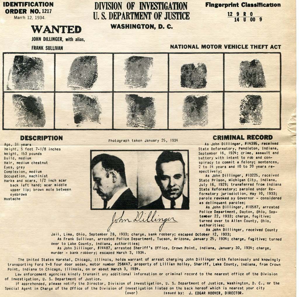 Felony Records: John Dillinger Wanted Poster And Criminal Record From 1934