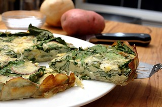 roasted garlic and spinach frittata with a red potato crust | by aarn!