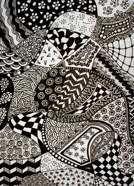 Line Art Design Inspiration : Zentangle doodle art journal page marie plocharz flickr