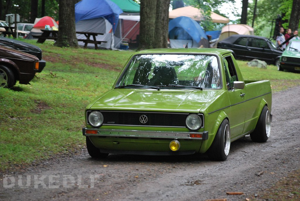 Green VW Caddy | Low VW rabbit truck on gravel road ...