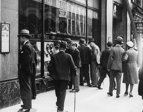 hmv 363 Oxford Street, London - Shoppers outside the store 1920s or 30s