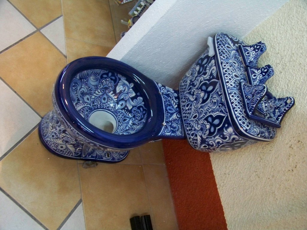 talavera toilet | This is a characteristic poblano pottery p… | Flickr