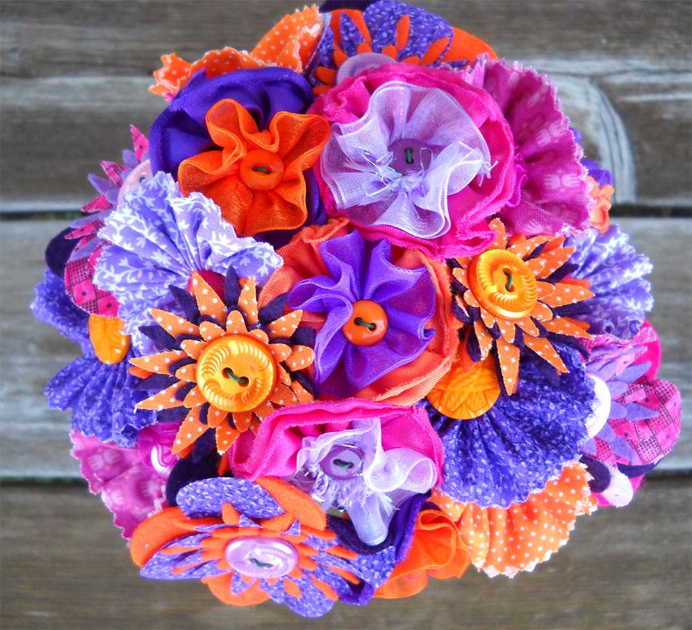 Purple Hot Pink And Orange Button Wedding Bride Flower Gir Flickr