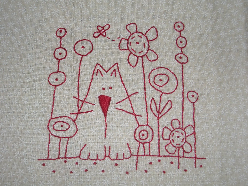 Cat stitchery from anni downs hatched and patched