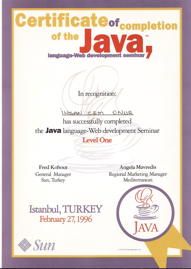 First Java Certificate My Certification That I Certificat Flickr