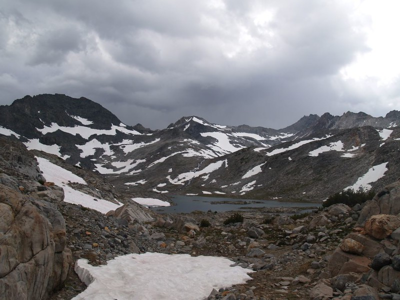 Directly below the small peak, center, you can see Rush Creek as it pours down from Lake 11228, the uppermost of the Marie Lakes