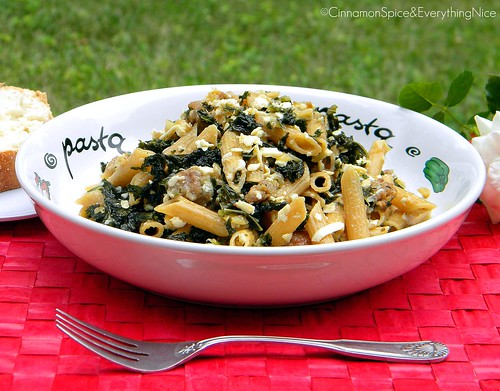 Hot Italian Sausage and Kale Ragu with Penne | by CinnamonKitchn