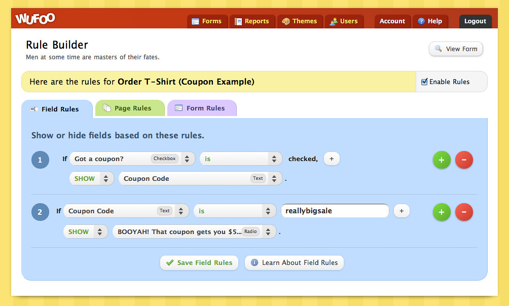 Rules For Coupon Code Wufoo Team Flickr